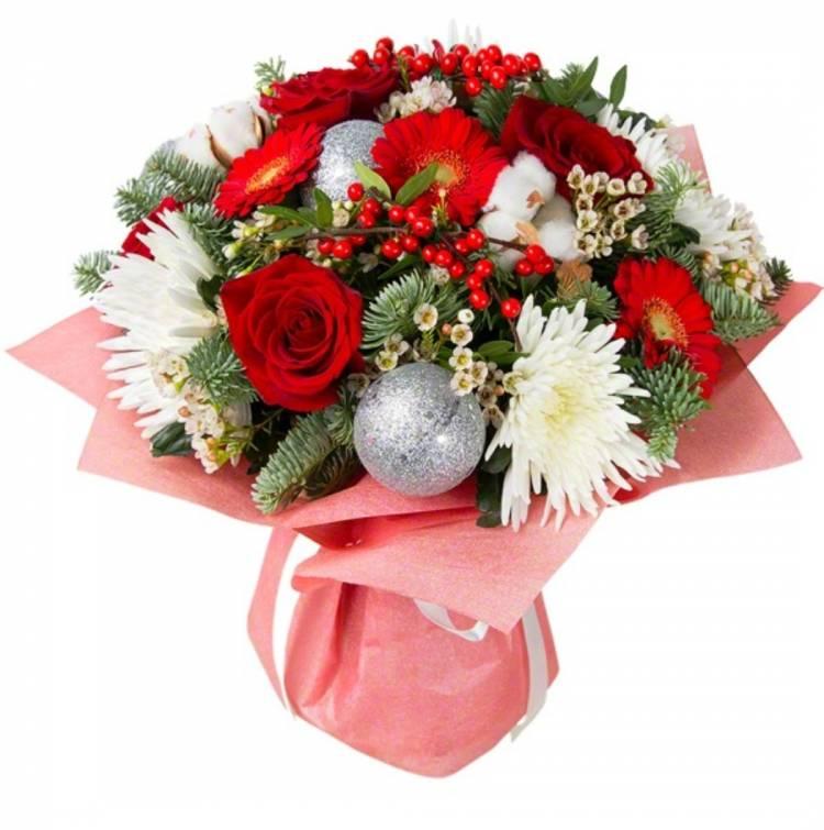 Новогодние букеты в корзинах из хризантем, букет войковской